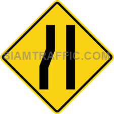 "2-23 Signs Of Warning ""Left Narrow Lane"" – The left lane of the way ahead is narrowed down. Drivers of vehicles are required to drive more carefully and slowly."