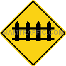 "2-29 Signs Of Warning ""Secure Railroad Crossing"" – Railroad crossing the way ahead with crossing barrier, drivers of vehicles are advised to drive slowly pass this sign and prepare to stop the vehicle, when the officer give signals or closes the barrier. If there are other vehicles ahead, drivers must wait their turn and proceed when the barrier is removed."