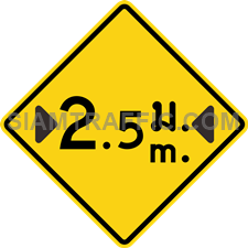 "2-31/1 A Warning Sign ""Width Restriction"" – The sign indicates that the lane width ahead is narrower than normal, with maximum width displayed in ""meter"" on the sign. Vehicles, which do not exceed the maximum width indicated, can pass through with caution and use slow speed. If there are additional signs in the close vicinity, drivers must obey to those signs as well."