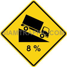 "2-34 Sign Warning ""Steep Descent"" – The way ahead is a steep way downhill. Drivers of vehicles are advised to drive slowly, use low gear, and keep to the left of way. The drivers should not release the gear or stop the engine, while the vehicle is going downhill."