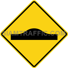 "2-35 A Warning Sign ""Unequal Road Surface"" – The surface of the way ahead changes level immediately, e.g. at a bridge neck, way over a culvert, or speed bump. Drive slowly and carefully."