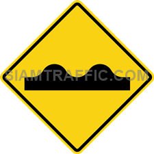 "2-36 Sign Warning ""Uneven Road Surface"" – The surface of the way ahead is bumpy or has many ridges. Drive slowly and carefully"