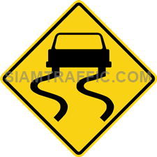 "2-38 A Warning Sign ""Slippery When Wet"" – The road is slippery when wet. Drivers of vehicles are required to drive slowly and carefully. Do not use brake immediately. Stopping, slowing down the vehicle and making a turn should be done with extreme care."
