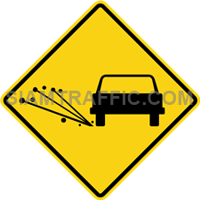 "2-39 Sign Warning ""Loose Gravel"" – The surface of the way ahead is loose and might bounce off, if a vehicle runs pass with a high speed. Drive slowly and be careful of accident that might be caused by the loose surface."