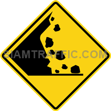 "2-40 A Warning Sign ""Falling rocks"" – The road ahead might have rocks that have fallen into the surface. Used to warn the driver to be careful that The road ahead may be dangerous. From the rock that had fallen Or stones that obstruct the driveway."