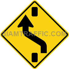 "2-42 A Warning Sign ""Shift to left carriageway"" – To warn the driver, be aware that the intersection or the barrier is open forward, changing the lanes to the left of the barrier. Breaking down traffic or barrier breaking the traffic lanes."