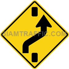 "2-43 A Warning Sign ""Shift to right carriageway"" – To warn the driver, be aware that the intersection or the barrier is open forward, changing the lanes to the right of the barrier. Breaking down traffic or barrier breaking the traffic lanes."