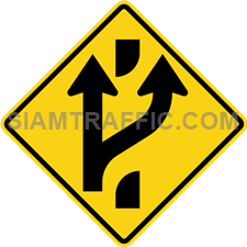 "2-45 A Warning Sign ""Added lane ahead"" – The main road ahead has openings in frontage road. Let the driver on the main road be careful And prepare to be frontage road."
