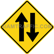 "2-52 Sign Warning ""Two Way Traffic"" – The way ahead has two directions traffic. Drivers of vehicles must drive slowly, keep left and be cautious of the oncoming traffic."