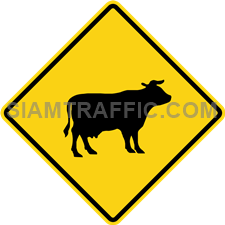 "2-58 Work Signs ""Beware of Cattle"" – There might be cattle crossing the road. Drivers must drive slowly and carefully."