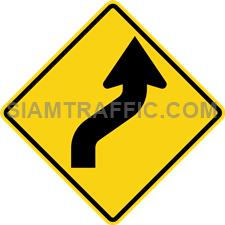 "2-6 Warning Signs ""Right Reverse Curves"" – The way ahead curves to the right, and then curves back to the left. Drivers should slow down the vehicle, and drive on the left of the road with caution."