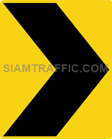 "2-63 Warning Danger Signs ""Direction Warning Sign"" – The way is diverted in the direction of the arrow. Drivers must drive slowly and carefully."