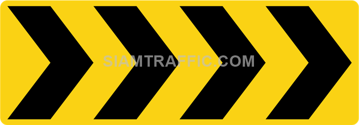 "2-64 Construction Signs ""Curve marker"" – Multiple chevrons are aligned pointing to the right."