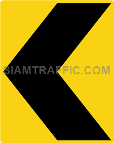 "2-66 Warning Danger Signs ""Direction Warning Sign"" – The way is diverted in the direction of the arrow. Drivers must drive slowly and carefully."