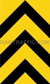 "2-71 Warning Danger Signs ""Direction Warning Sign"" - The way is diverted in the direction of the arrow. Drivers must drive slowly and carefully."