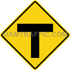 "2-75 Warning Sign ""T-Symbol Intersection"" – Two main ways connect to each other and form and intersection ahead. Drivers should slow down the vehicle and drive carefully."
