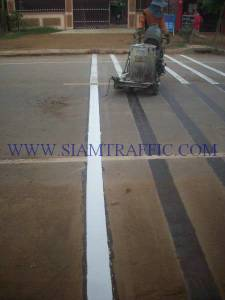 Thermoplastic road marking service at Cambodia from Poipet to Siemriep