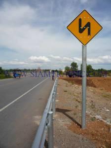 Traffic sign and guard rail at Cambodia