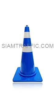 Blue Traffic Cone 80 cm. attached with reflective Sticker.