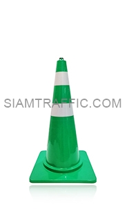 Green Traffic Cone 80 cm. attached with reflective Sticker.