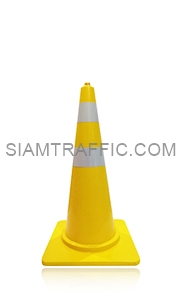 Yellow Traffic Cone 80 cm. attached with reflective Sticker.