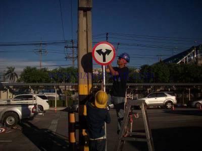 Installation work of traffic sign at Toyota Samrong