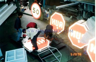 Installation of traffic sign on frame