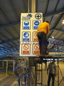 Reflective safety signs at Saptip Company