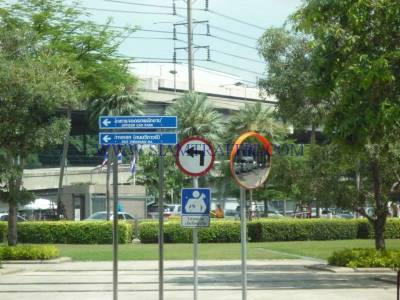 Traffic sign and stainless pole at PTT. head office