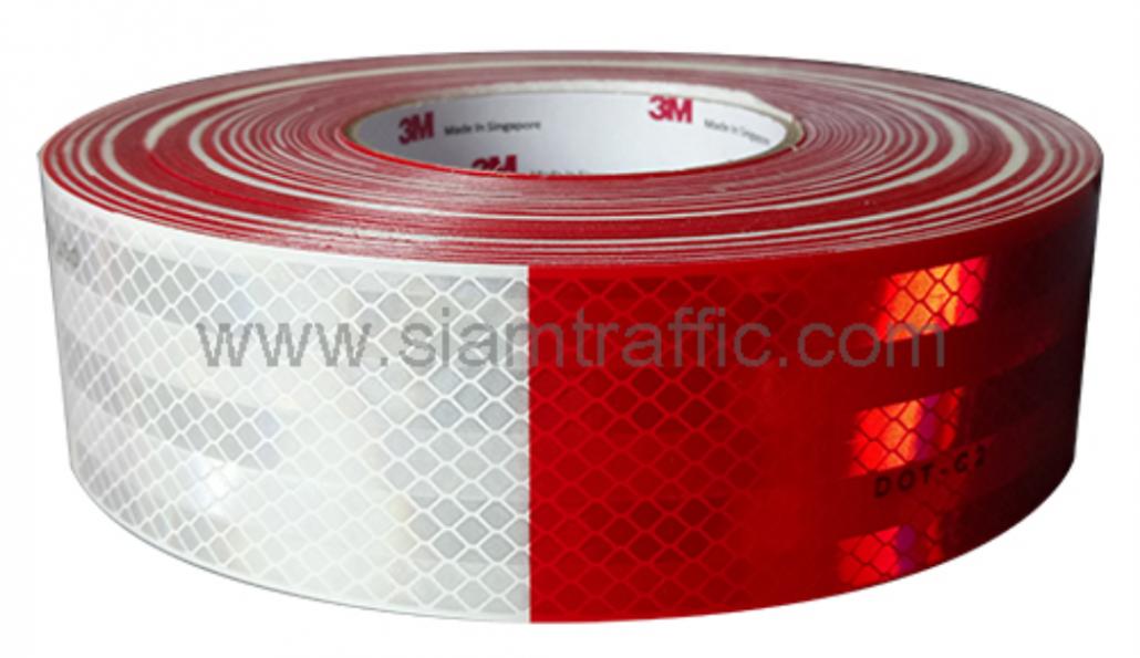 สติกเกอร์ติดรถยนต์ 3M Diamond Grade สีขาวสลับแดง
