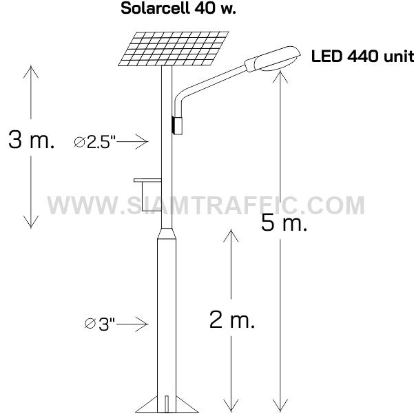 โครงสร้างเสาโคมไฟ สูง 6 เมตร